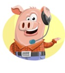 Farm Pig Cartoon Vector Character AKA Pigasso the Creative Pig - Shape 3