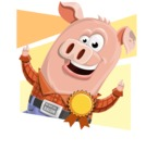 Farm Pig Cartoon Vector Character AKA Pigasso the Creative Pig - Shape 4
