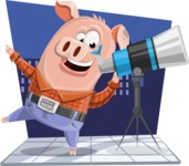Farm Pig Cartoon Vector Character AKA Pigasso the Creative Pig - Shape 5