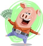 Farm Pig Cartoon Vector Character AKA Pigasso the Creative Pig - Shape 6