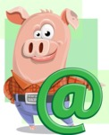 Farm Pig Cartoon Vector Character AKA Pigasso the Creative Pig - Shape 7