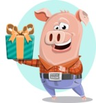 Farm Pig Cartoon Vector Character AKA Pigasso the Creative Pig - Shape 8