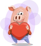 Farm Pig Cartoon Vector Character AKA Pigasso the Creative Pig - Shape 9