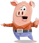Farm Pig Cartoon Vector Character AKA Pigasso the Creative Pig - Direct Attention