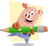 Farm Pig Cartoon Vector Character AKA Pigasso the Creative Pig - Shape 10