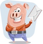 Farm Pig Cartoon Vector Character AKA Pigasso the Creative Pig - Shape 11