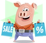 Farm Pig Cartoon Vector Character AKA Pigasso the Creative Pig - Shape 12