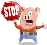 Farm Pig Cartoon Vector Character AKA Pigasso the Creative Pig - Stop