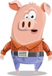 Farm Pig Cartoon Vector Character AKA Pigasso the Creative Pig - Stunned