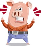 Farm Pig Cartoon Vector Character AKA Pigasso the Creative Pig - Angry