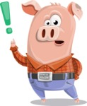 Farm Pig Cartoon Vector Character AKA Pigasso the Creative Pig - Attention