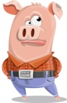 Farm Pig Cartoon Vector Character AKA Pigasso the Creative Pig - Roll Eyes