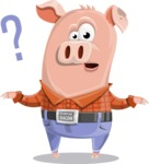 Farm Pig Cartoon Vector Character AKA Pigasso the Creative Pig - Confused