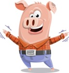 Farm Pig Cartoon Vector Character AKA Pigasso the Creative Pig - Hello