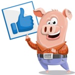 Farm Pig Cartoon Vector Character AKA Pigasso the Creative Pig - Thumbs Up