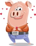 Farm Pig Cartoon Vector Character AKA Pigasso the Creative Pig - Show Love