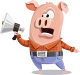 Farm Pig Cartoon Vector Character AKA Pigasso the Creative Pig - Loudspeaker