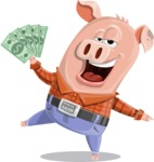 Farm Pig Cartoon Vector Character AKA Pigasso the Creative Pig - Show me the Money