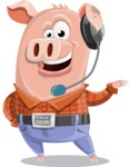 Farm Pig Cartoon Vector Character AKA Pigasso the Creative Pig - Support