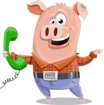Farm Pig Cartoon Vector Character AKA Pigasso the Creative Pig - Support 2