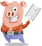 Farm Pig Cartoon Vector Character AKA Pigasso the Creative Pig - Letter