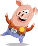 Farm Pig Cartoon Vector Character AKA Pigasso the Creative Pig - Ribbon