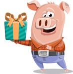 Farm Pig Cartoon Vector Character AKA Pigasso the Creative Pig - Gift