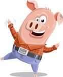Farm Pig Cartoon Vector Character AKA Pigasso the Creative Pig - Wave