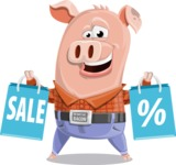 Farm Pig Cartoon Vector Character AKA Pigasso the Creative Pig - Sale 2