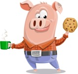 Farm Pig Cartoon Vector Character AKA Pigasso the Creative Pig - Coffee