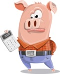 Farm Pig Cartoon Vector Character AKA Pigasso the Creative Pig - Calculator