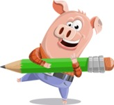 Farm Pig Cartoon Vector Character AKA Pigasso the Creative Pig - Pencil