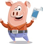 Farm Pig Cartoon Vector Character AKA Pigasso the Creative Pig - iPhone