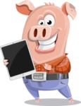 Farm Pig Cartoon Vector Character AKA Pigasso the Creative Pig - iPad 1