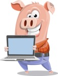Farm Pig Cartoon Vector Character AKA Pigasso the Creative Pig - Laptop 2