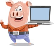 Farm Pig Cartoon Vector Character AKA Pigasso the Creative Pig - Laptop 3