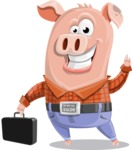 Farm Pig Cartoon Vector Character AKA Pigasso the Creative Pig - Briefcase 1