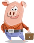 Farm Pig Cartoon Vector Character AKA Pigasso the Creative Pig - Briefcase 2