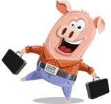 Farm Pig Cartoon Vector Character AKA Pigasso the Creative Pig - Briefcase 3