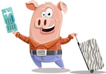 Farm Pig Cartoon Vector Character AKA Pigasso the Creative Pig - Travel 1
