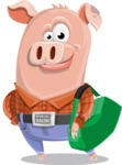 Farm Pig Cartoon Vector Character AKA Pigasso the Creative Pig - Travel 2