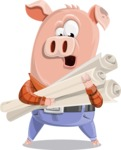Farm Pig Cartoon Vector Character AKA Pigasso the Creative Pig - Plans
