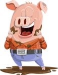 Farm Pig Cartoon Vector Character AKA Pigasso the Creative Pig - Mud