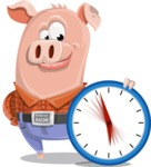 Farm Pig Cartoon Vector Character AKA Pigasso the Creative Pig - Time is Yours