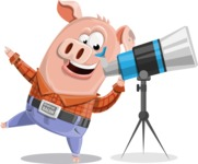 Farm Pig Cartoon Vector Character AKA Pigasso the Creative Pig - Telescope