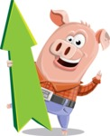 Farm Pig Cartoon Vector Character AKA Pigasso the Creative Pig - Pointer 1