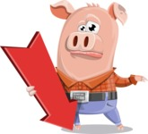 Farm Pig Cartoon Vector Character AKA Pigasso the Creative Pig - Pointer 3