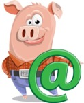 Farm Pig Cartoon Vector Character AKA Pigasso the Creative Pig - Email