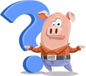 Farm Pig Cartoon Vector Character AKA Pigasso the Creative Pig - Question