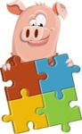 Farm Pig Cartoon Vector Character AKA Pigasso the Creative Pig - Puzzle